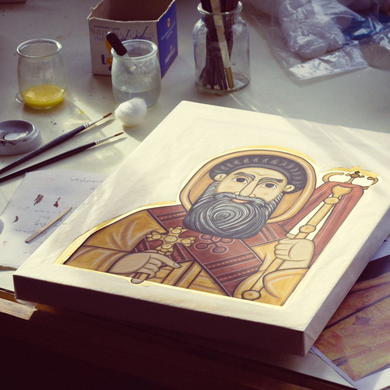 Finishing the icon of Saint Cyril.